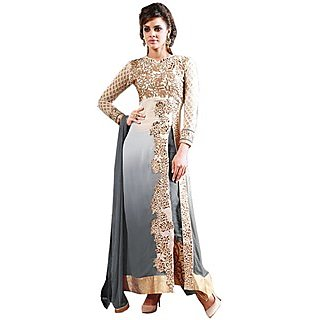 Grey Faux Georgette Party Wear Womens Dress Material (Unstitched)