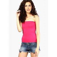 Pink Viscose Strapless Sleeveless Tube Tops For Women