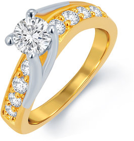 Sukkhi Wavy Gold and Rhodium Plated CZ Solitaire Ring