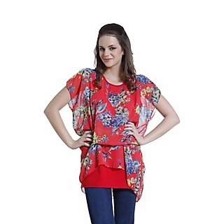 Crepe/Ggt Combination Top With Show Tie At Waist 14216Red
