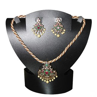 Multicolor Chain with Floral Pendant  Earrings