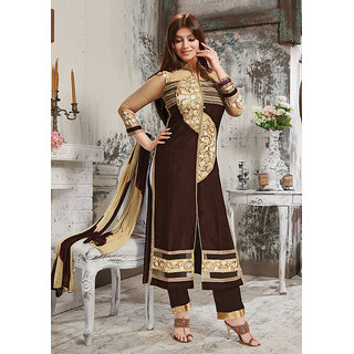 Fabfirki New Arrival Brown Designer Embroidery Neck Long Salwar Kameez-24CD24-11