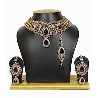5-Line Attractive Kundan Chocker Necklace Set in Maroon Green