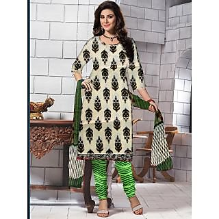 Designer Cotton Printed Suit With Chiffon Dupatta (Unstitched)