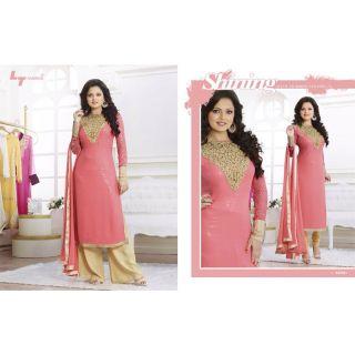 Ladies Beautiful Georgette Pakistani Semi-Stitched Suit Pink