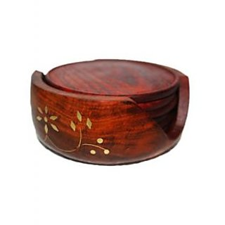 Onlineshoppee  Wooden Carved Tea Coaster Set of 6 Plate with Stand dining table