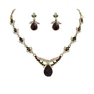 14Fashions Brown & Green Necklace Set - 1100307