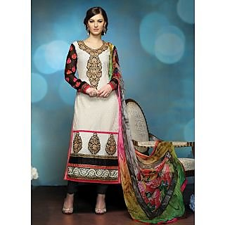 Swaron Purple Kota Lace Salwar Suit Dress Material (Unstitched)
