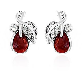Mahi Rhodium Plated Red berry Marquise Earrings Made with Swarovski Elements