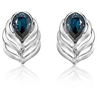 Mahi Rhodium Plated Blue Drop Peacock Feather Earrings Made with Swarovski Elements
