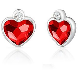 Mahi Rhodium Plated Red Heart Earrings Made With Swarovski Elements
