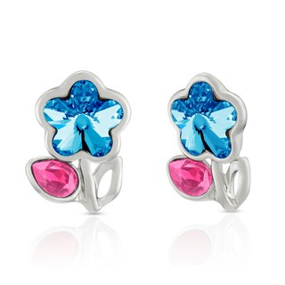 Mahi Rhodium Plated Pink Drop and Blue Floral Earrings Made with Swarovski Elements