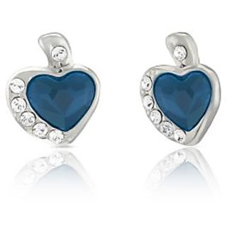Mahi Rhodium Plated Blue and White Heart Earrings Made with Swarovski Elements