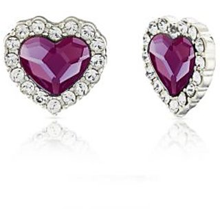 Mahi Rhodium Plated Purple Titanic Heart Earrings Made with Swarovski Elements