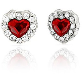 Mahi Rhodium Plated Red Titanic Heart Earrings Made with Swarovski Elements