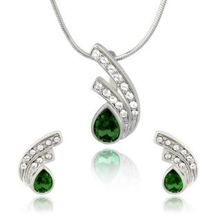Mahi Rhodium Plated Green Drop Peacock Feather Pendant Set Made with Swarovski Elements