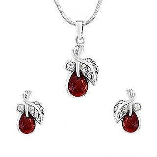 Mahi Rhodium Plated Red berry Marquise Pendant Set Made with Swarovski Elements