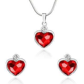 Mahi Rhodium Plated Red Heart Pendant Set Made with Swarovski Elements