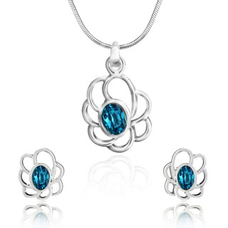 Mahi Rhodium Plated Blue Oval Floral Pendant Set Made with Swarovski Elements