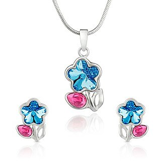 Mahi Rhodium Plated Pink Drop and Blue Floral Pendant Set Made with Swarovski Elements