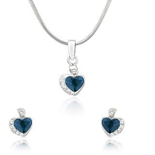 Mahi Rhodium Plated Blue and White Heart Pendant Set Made with Swarovski Elements