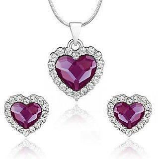 Mahi Rhodium Plated Purple Titanic Heart Pendant Set Made with Swarovski Elements