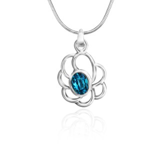 Mahi Rhodium Plated Blue Oval Floral Pendant Made with Swarovski Elements