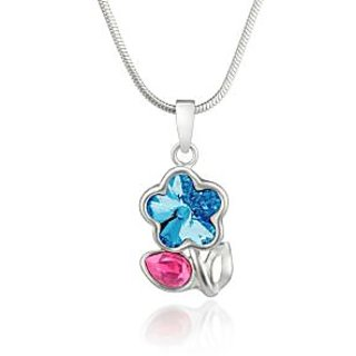 Mahi Rhodium Plated Pink Drop and Blue Floral Pendant Made with Swarovski Elements