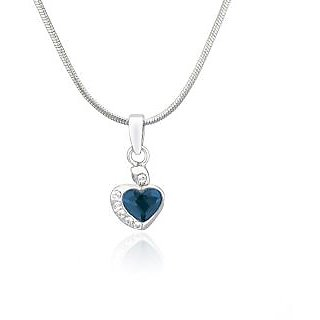 Mahi Rhodium Plated Blue and White Heart Pendant Made with Swarovski Elements