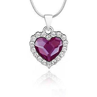 Mahi Rhodium Plated Purple Titanic Heart Pendant Made with Swarovski Elements