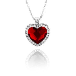Mahi Rhodium Plated Red Titanic Heart Pendant Made with Swarovski Elements