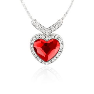 Mahi Rhodium Plated Red Titanic Heart Pendant Made with Swarovski Elements P