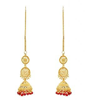 Gold Plated Red Beaded Jhumki Long Earrings by GoldNera