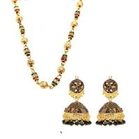 Red and Green Ethnic Chain with Antique Look Hanging Earrings Combo by GoldNera