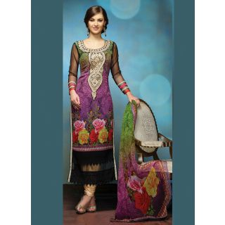 Swaron Maroon And Brown Kota Lace Salwar Suit Dress Material (Unstitched)
