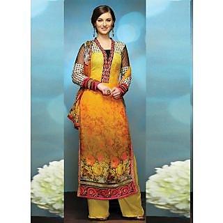 Swaron Red Kota Lace Salwar Suit Dress Material (Unstitched)