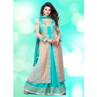 Swaron Turquoise coloured Georgette SemiStitched Anarkali Suit 107D101