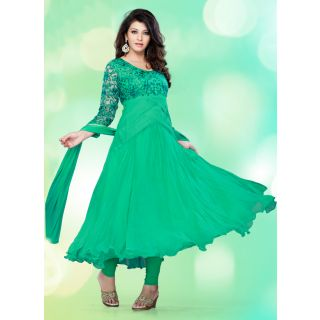 Swaron  Green coloured Georgette SemiStitched Anarkali Suit 107D103