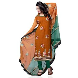 Triveni Charming Brown Colored Printed Georgette Jaquard Salwar Kameez (Unstitched)