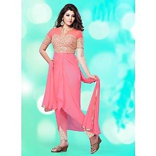 Swaron  Pink coloured Georgette SemiStitched Anarkali Suit 107D104