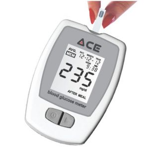 ACE Glucometer (Meter with Lancet Device and 100 Glucose Test Strips)