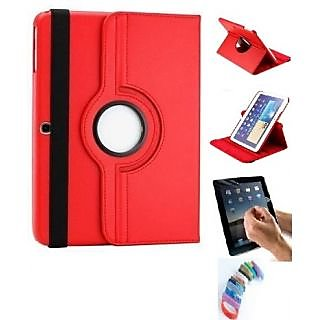 Buy PU Leather Full 360 Degree Rotating Flip Book Case Cover For Samsung Galaxy Note Sm - N8000 10.1 Inch (Red) with Wrist band Online- Shopclues.com