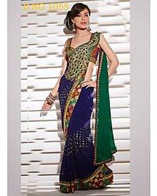 Akshar Creation Multicolor Raw Silk Self Design Saree With Blouse