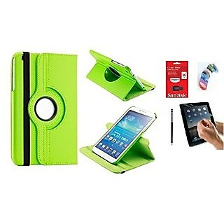 PU Leather Full 360 Rotating Flip Book Cover Case Stand for Samsung Galaxy Tab 3 T311 (Green) with Matte Screen Guard, Stylus, Wrist band + 16GB SANDISK EXTERNAL PENDRIVE