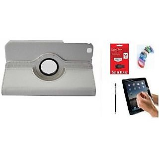 PU Leather Full 360 Rotating Flip Book Cover Case Stand for Samsung Galaxy Tab 3 T311 (White) with Matte Screen Guard, Stylus, Wrist band + 16GB SANDISK EXTERNAL PENDRIVE