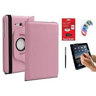 PU Leather 360 Deg Rotatable Leather Flip Case Cover For Samsung Tab 3 Neo T111 T110 Tablet (Light Pink) with Matte Screen Guard, Stylus, Wrist band + 16GB SANDISK EXTERNAL PENDRIVE