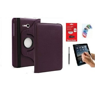 PU Leather 360 Deg Rotatable Leather Flip Case Cover For Samsung Tab 3 Neo T111 T110 Tablet (Purple) with Matte Screen Guard, Stylus, Wrist band + 16GB SANDISK EXTERNAL PENDRIVE