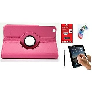 PU Leather Full 360 Rotating Flip Book Cover Case Stand for Samsung Galaxy Tab 3 T311 (Hot Pink) with Matte Screen Guard, Stylus, Wrist band + 16GB SANDISK EXTERNAL PENDRIVE
