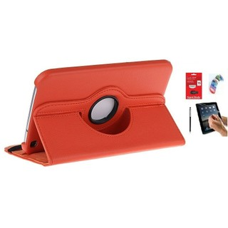 PU Leather Full 360 Rotating Flip Book Cover Case Stand for Samsung Galaxy Tab 3 T311 (Orange) with Matte Screen Guard, Stylus, Wrist band + 16GB SANDISK EXTERNAL PENDRIVE