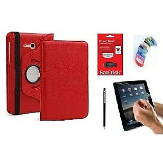 PU Leather 360 Deg Rotatable Leather Flip Case Cover For Samsung Tab 3 Neo T111 T110 Tablet (Red) with Matte Screen Guard, Stylus, Wrist band + 16GB SANDISK EXTERNAL PENDRIVE